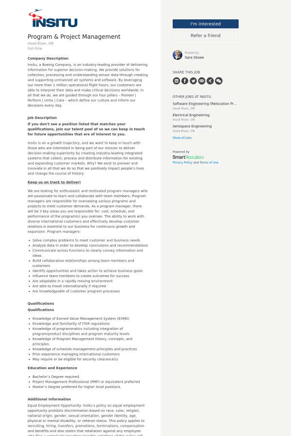 Program Project Management Job At Insitu In Bingen Wa 14814602