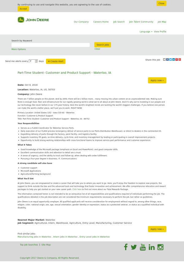 student customer and product support waterloo ia job at deere