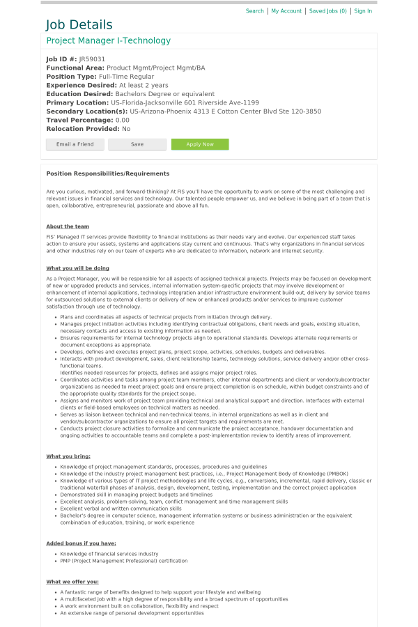 Project Manager I Technology Job At Fis In Jacksonville Fl