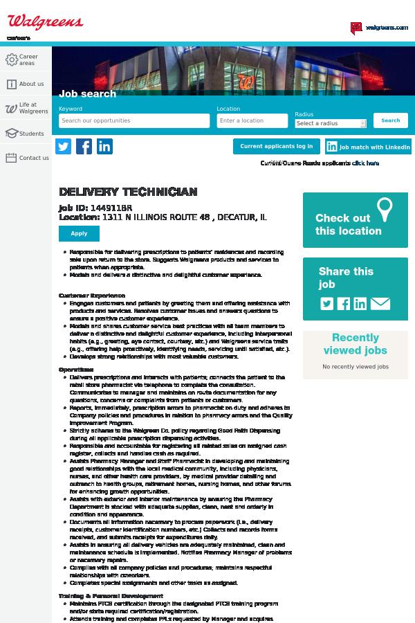 Delivery Technician Job At Walgreens In Decatur Il 14833315