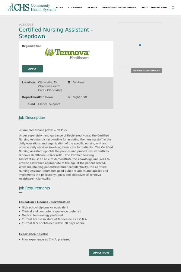 Certified Nursing Assistant Stepdown Job At Community Health