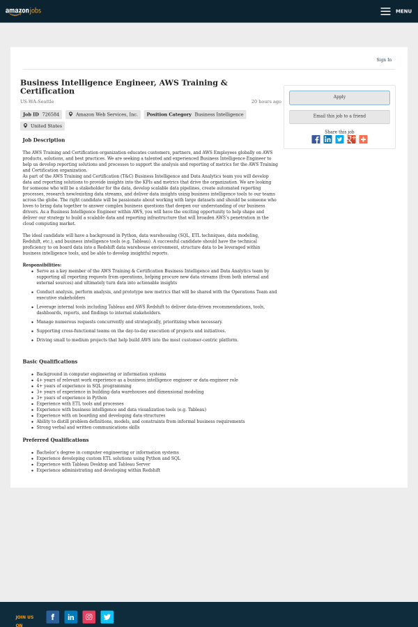 Business Intelligence Engineer Aws Training Certification Job At