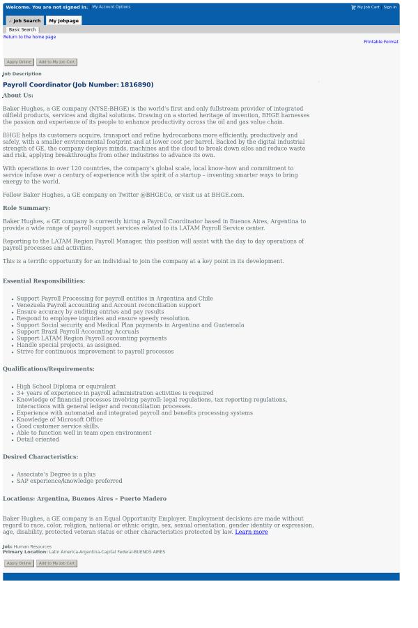 Payroll Coordinator Job Description | Payroll Coordinator Job At Baker Hughes In Buenos Aires Argentina