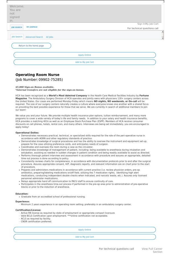 Operating Room Nurse Job At Hca Holdings Inc In Thornton Co