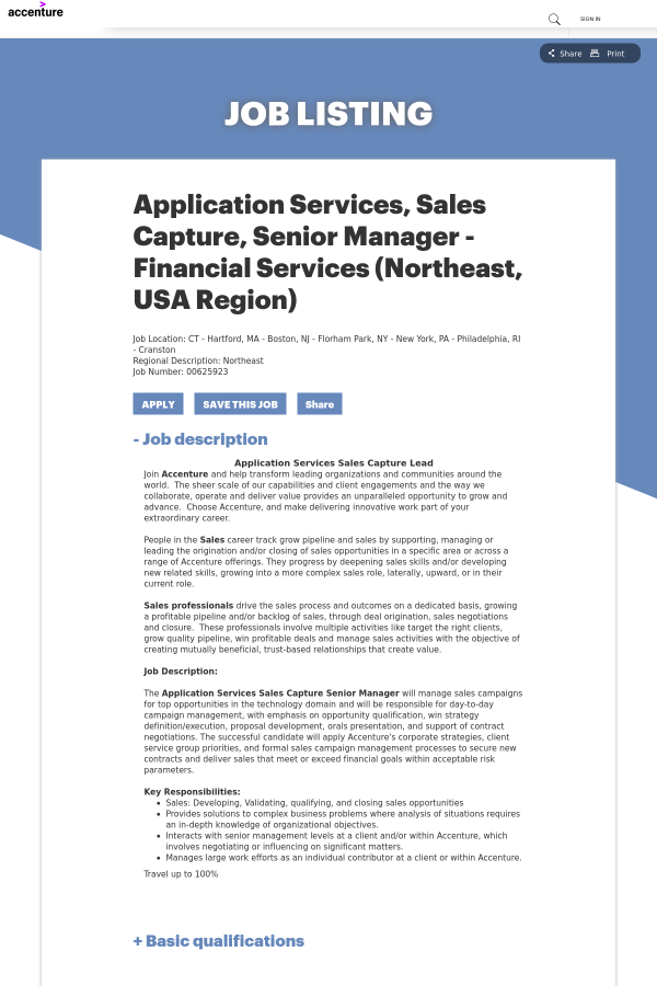 application for sales job