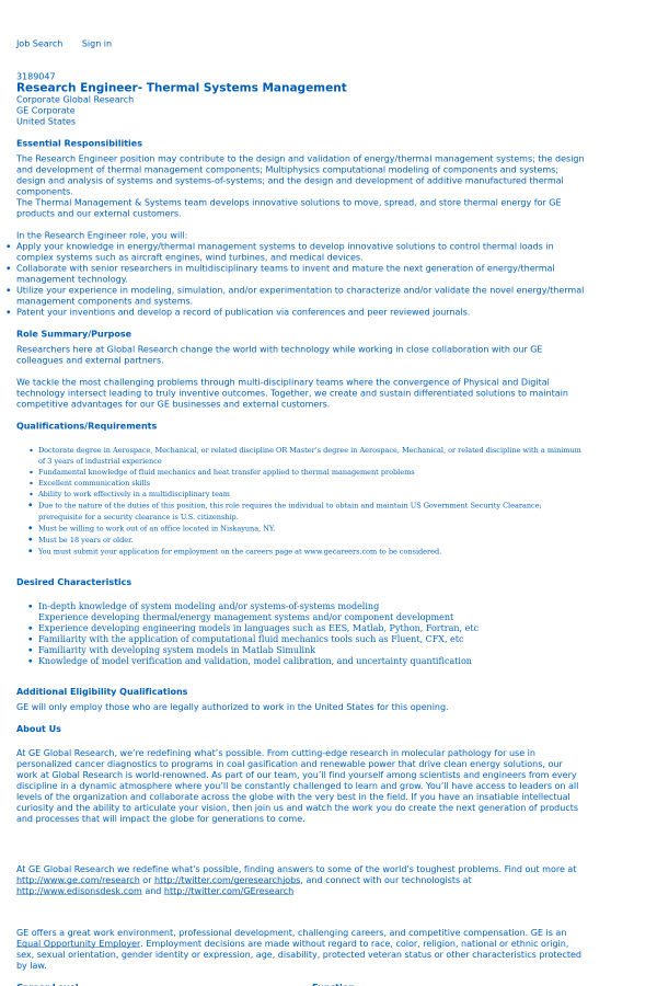 Research Engineer - Thermal Systems Management job at General