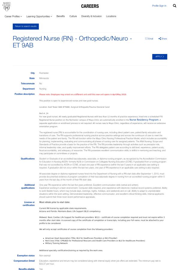 Registered Nurse (Registered Nurse) - Orthopedic / Neuro