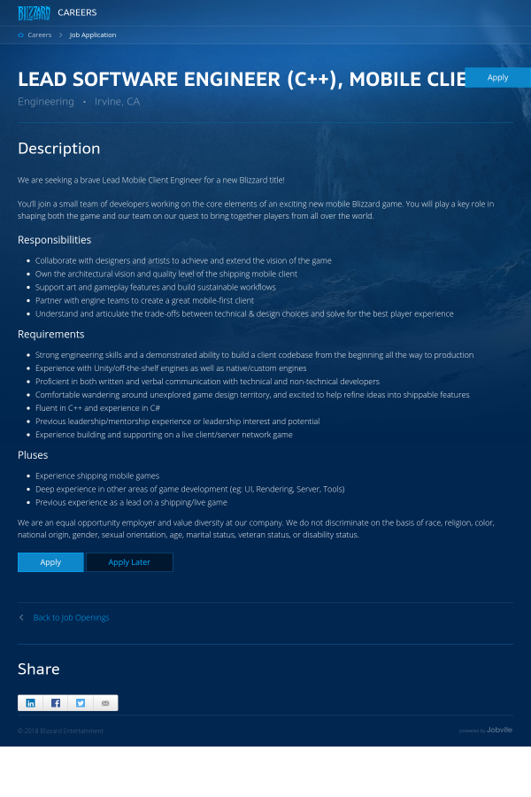 Lead Software Engineer C Mobile Client Job At Blizzard