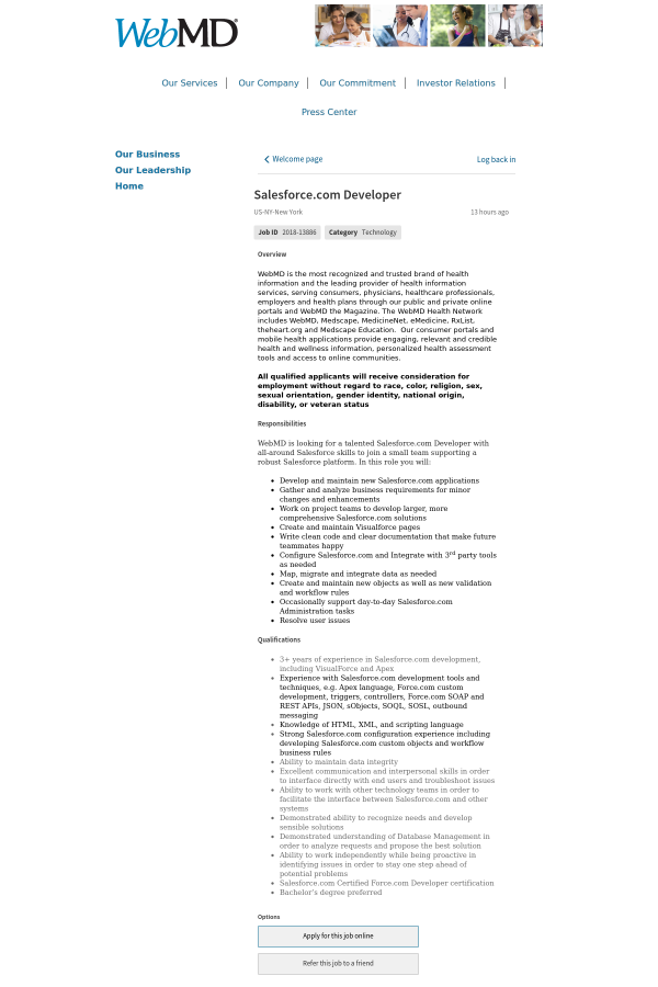 Salesforce Developer Job At Webmd In New York City Ny