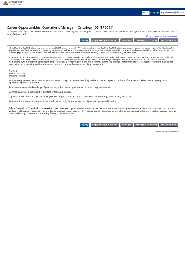 Operations Manager - Oncology IDS job at Johns Hopkins