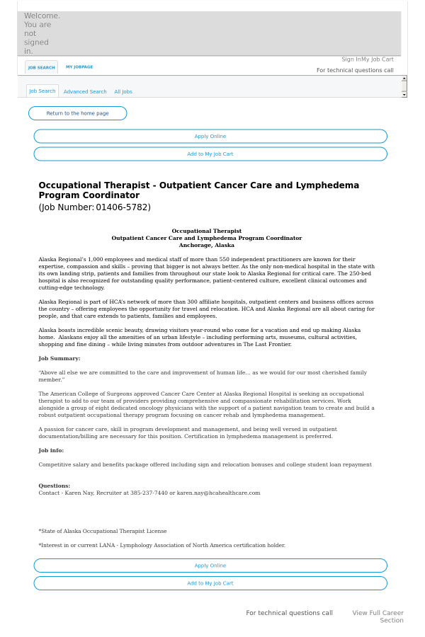 Occupational Therapist Job At Hca Holdings Inc In Anchorage Ak