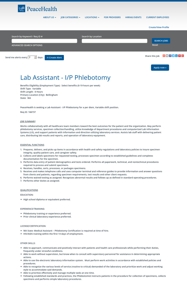Lab Assistant I P Phlebotomy Job At Peacehealth In Bellingham