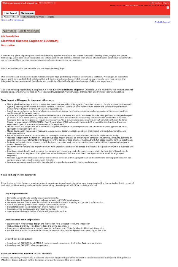 electrical harness engineer job at cummins in santa clara ca rh tapwage com Wire Harness Schematic Wire Harness Drawing