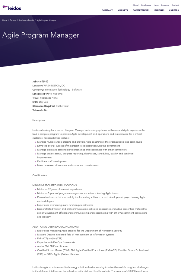 Agile Program Manager Job At Leidos In Washington Dc 14916272