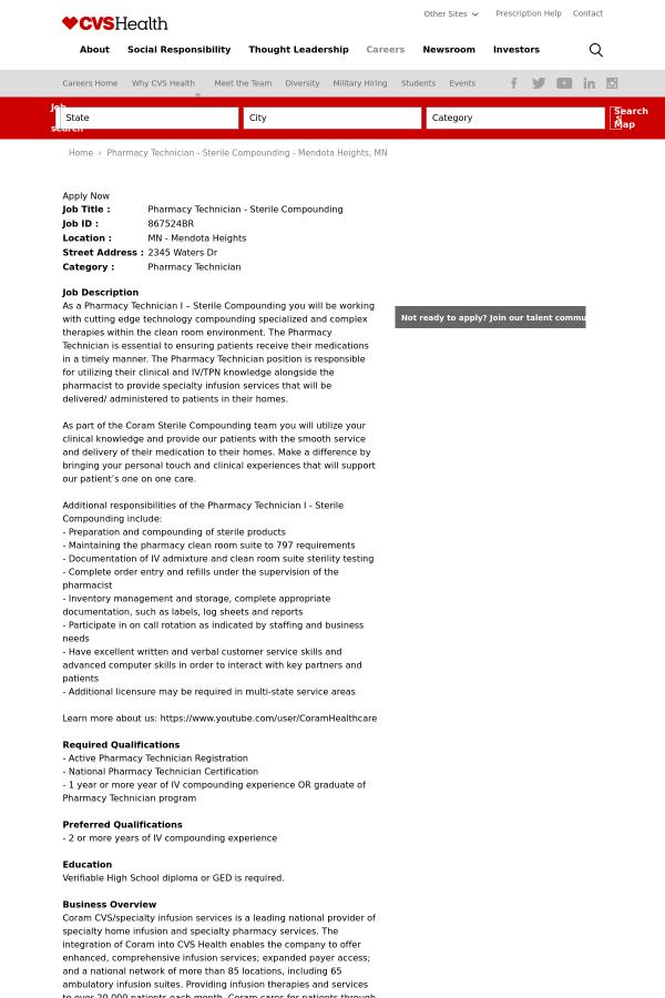 Pharmacy Technician Sterile Compounding Job At Cvs Health In