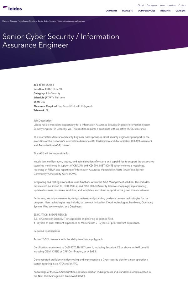 Senior Cyber Security Information Assurance Engineer Job At Leidos