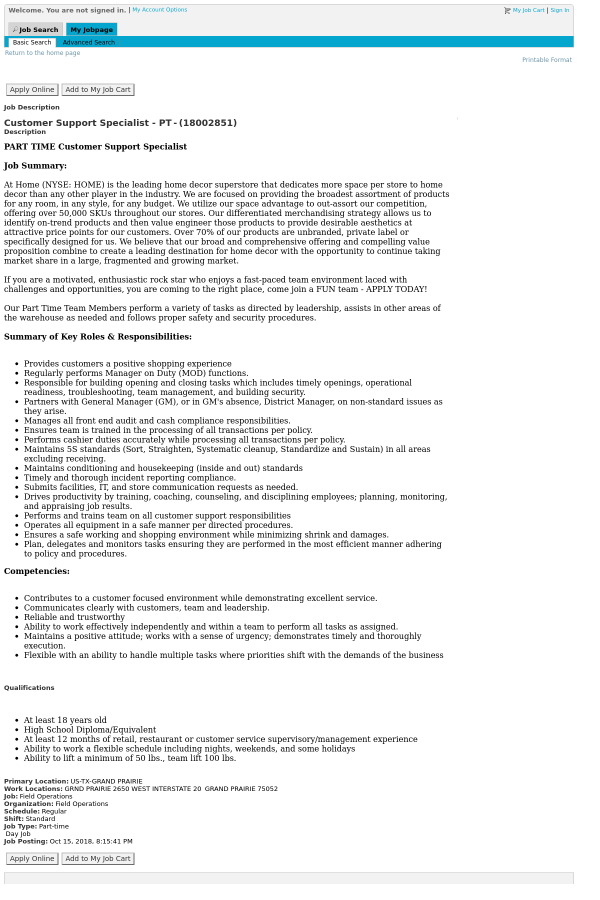 Customer Support Specialist Job At At Home In Grand Prairie Tx
