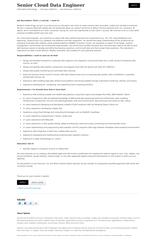 Senior Cloud Data Engineer job at Splunk in San Jose, CA - 14995243