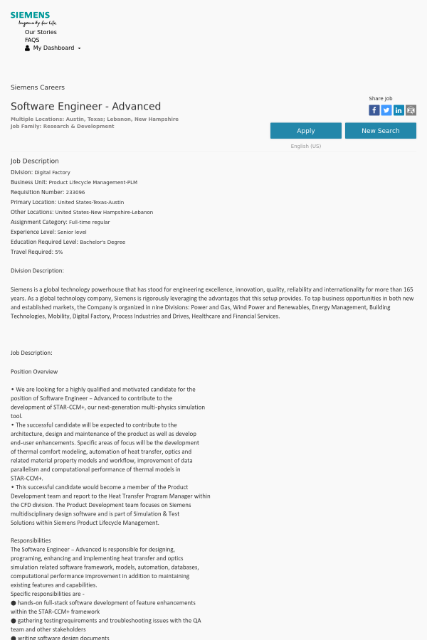 Software Engineer - Advanced job at Siemens in Austin, TX