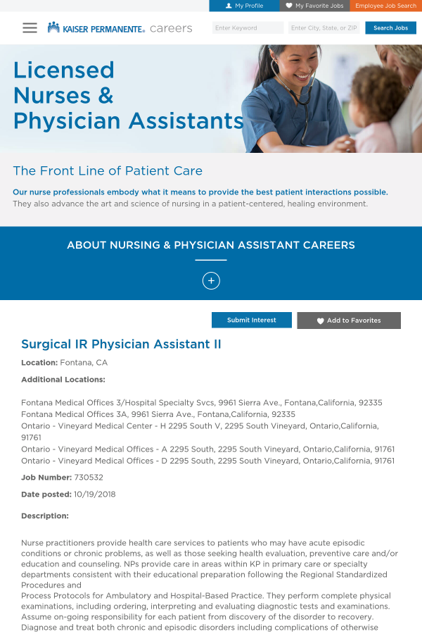 Surgical IR Physician Assistant II job at Kaiser Permanente