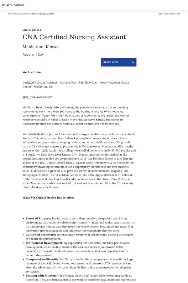 Cna Certified Nursing Assistant Job At Ascension Health In Manhattan