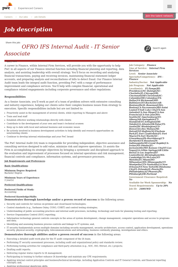 Ofro IFS Internal Audit - IT Senior Associate job at