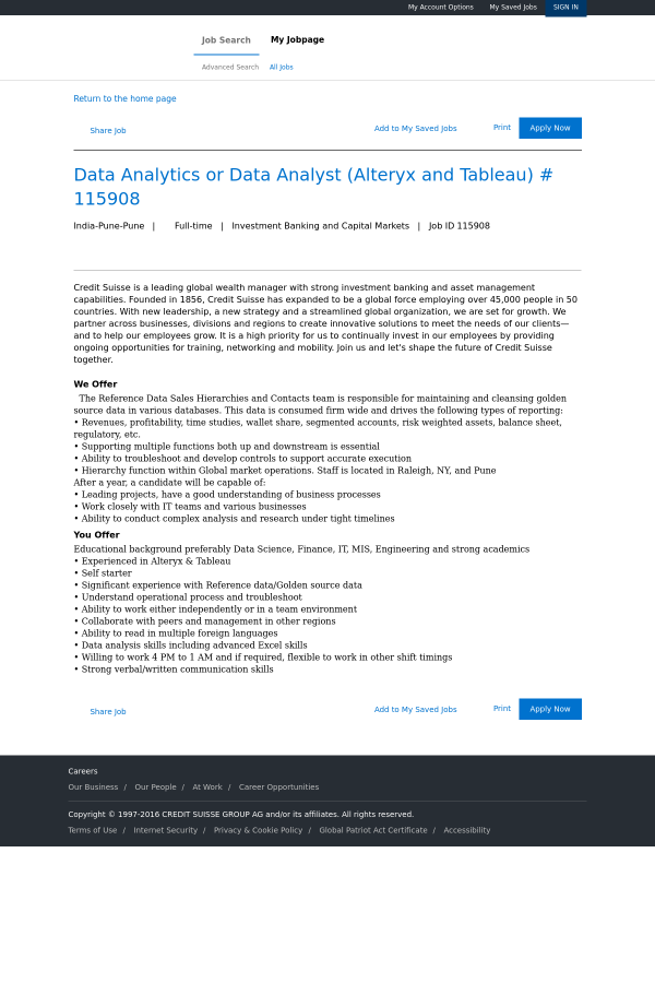 Data Analytics or Data Analyst (Alteryx and Tableau) job at