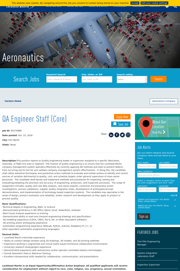 QA Engineer Staff (Core) job at Lockheed Martin in Fort Worth, TX