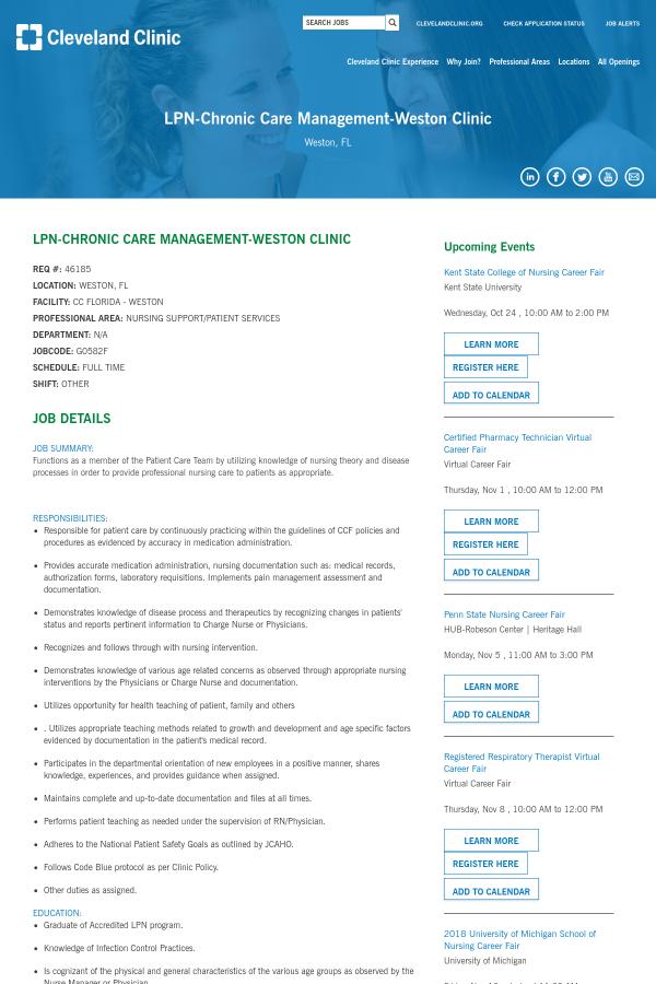 LPN - Chronic Care Management - Weston Clinic job at