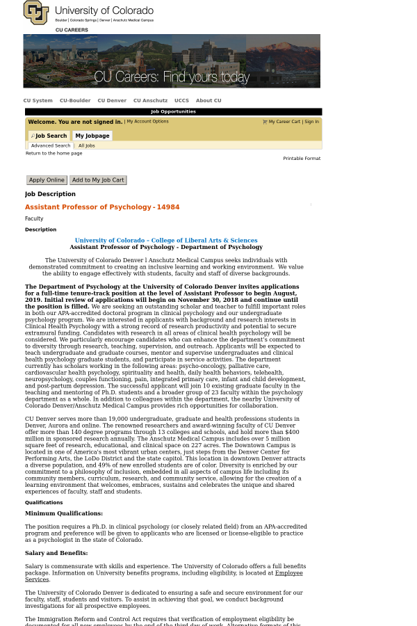 Assistant Professor Of Psychology Job At University Of Colorado In