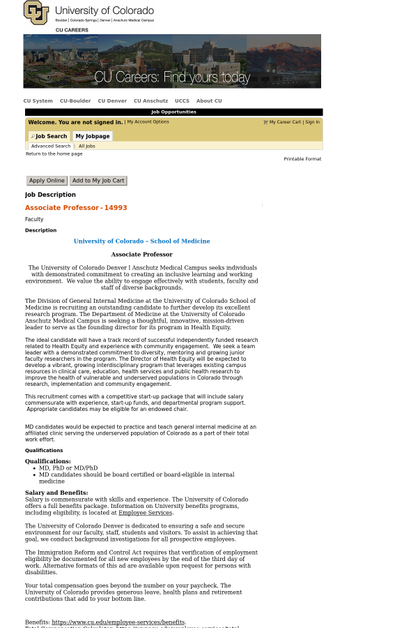 Associate Professor job at University of Colorado in Aurora