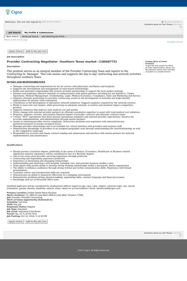 Provider Contracting Negotiator Southern Texas Market Job At Cigna
