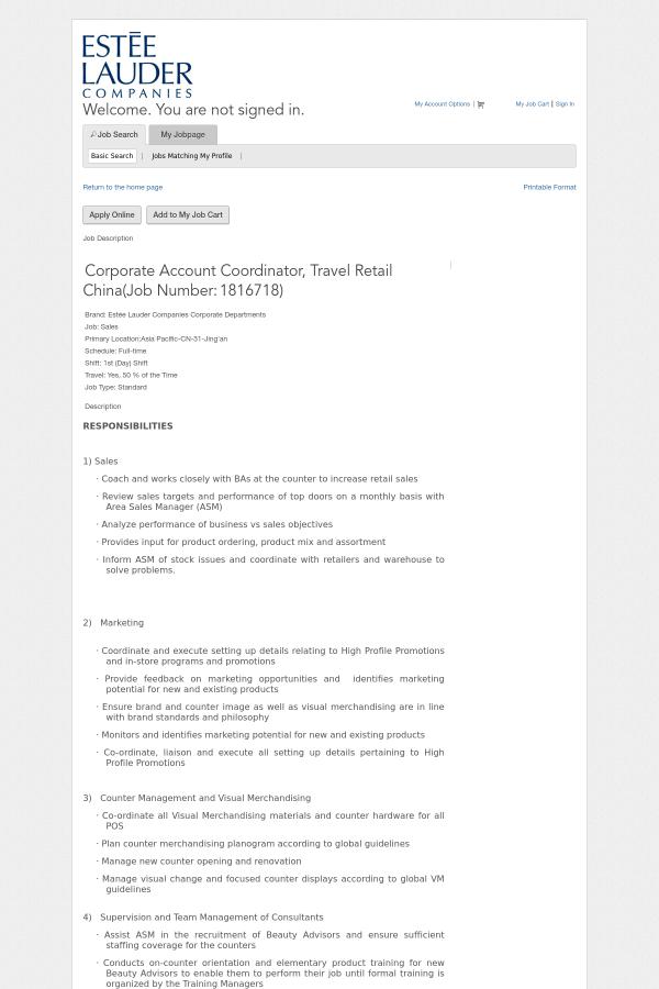 Corporate Account Coordinator, Travel Retail China job at Estée