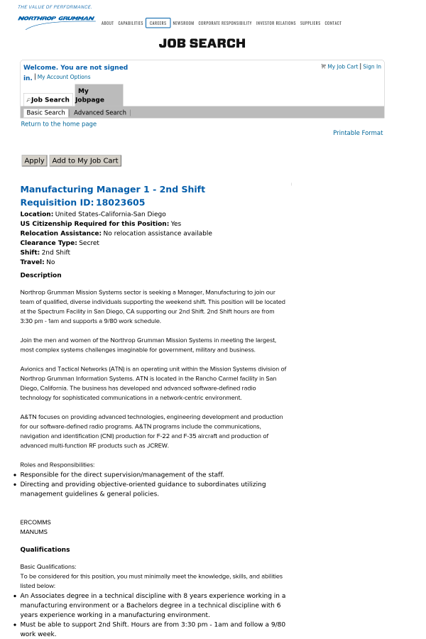 Manufacturing Manager 1