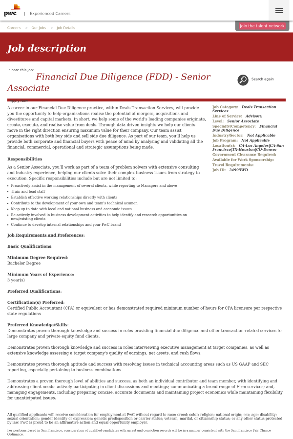 Financial Due Diligence (FDD) - Senior Associate job at