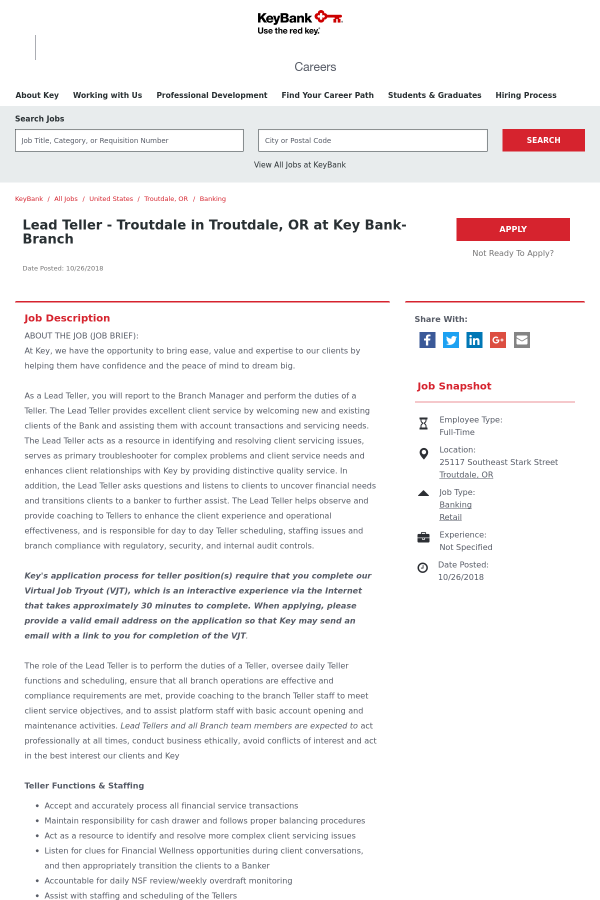 Lead Teller job at Keybank in Troutdale, OR - 15129651