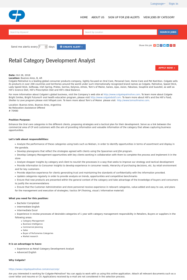 Retail Category Development Analyst job at Colgate Palmolive in ...