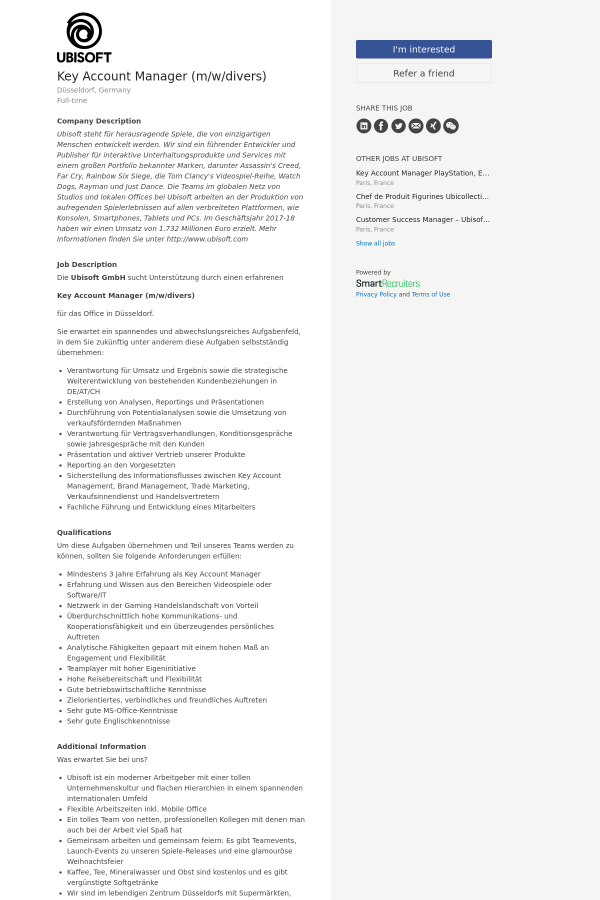 Key Account Manager M W Divers Job At Ubisoft In Dusseldorf
