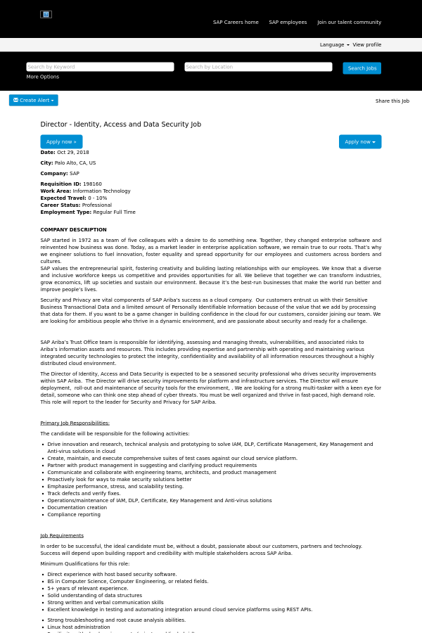 Director - Identity, Access and Data Security job at SAP in