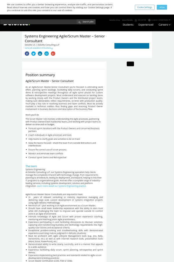 Systems Engineering Agile Scrum Master Senior Consultant Job At