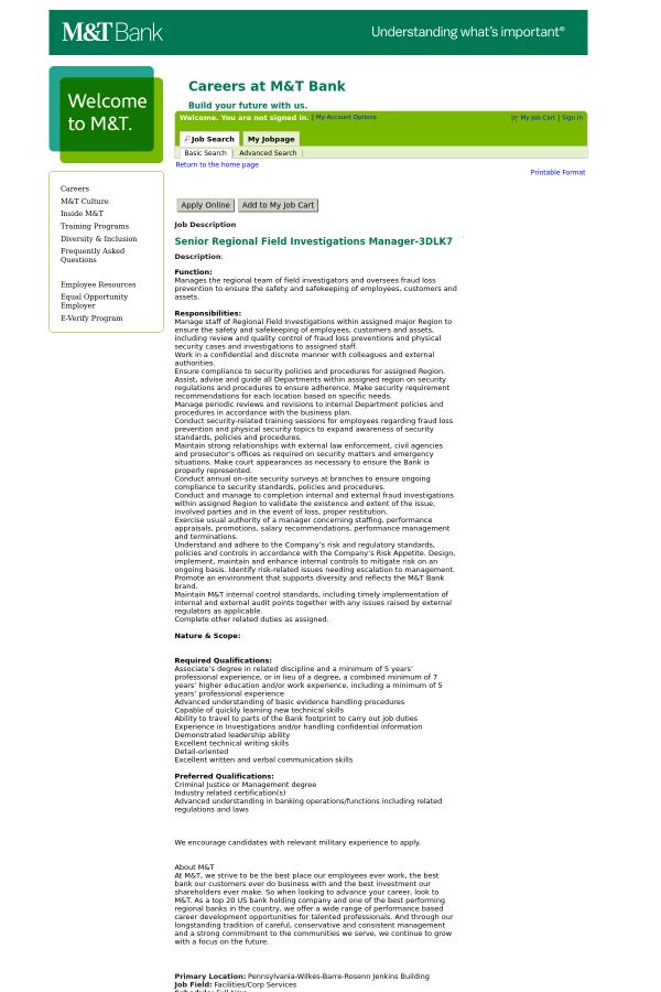 Senior Regional Field Investigations Manager Job At Mt Bank In