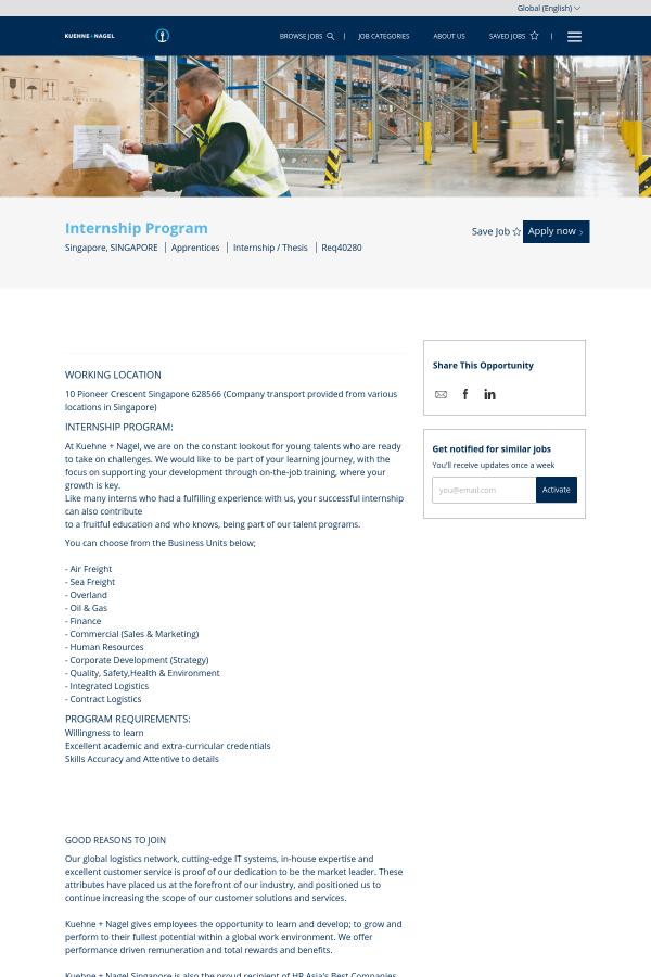 Internship Program job at Kuehne + Nagel in Singapore - 15172333