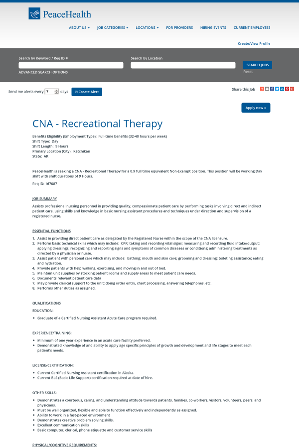 Cna Recreational Therapy Job At Peacehealth In Ketchikan Ak