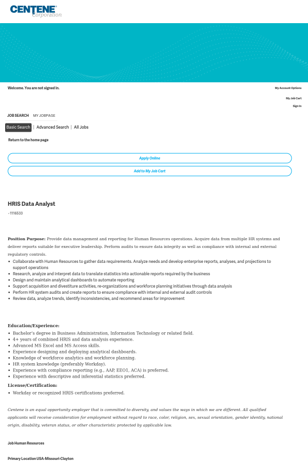 hris data analyst job at centene corporation in clayton, mo ...