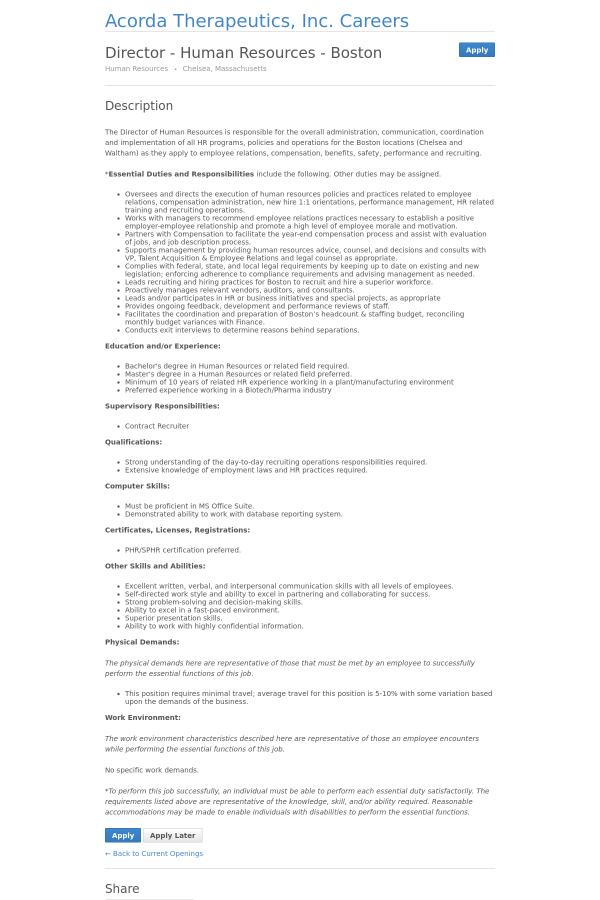 Director Human Resources Boston Job At Acorda Therapeutics In