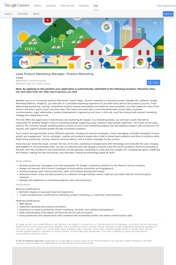Lead Product Marketing Manager Finance Job At Google In