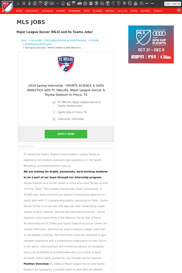 2019 Spring Internship Sports Science Data Analytics With Fc