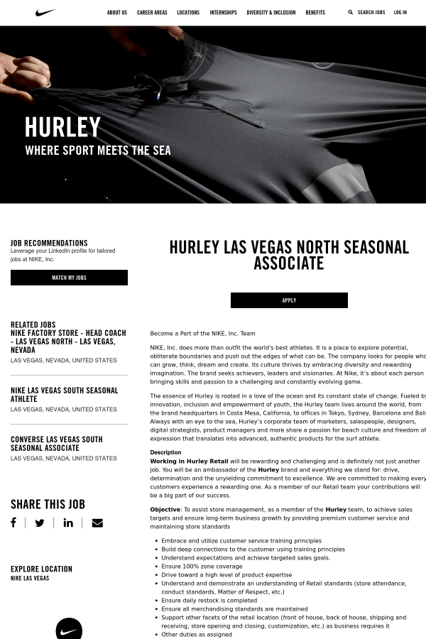 f05a54a0daac Hurley Las Vegas North Seasonal Associate job at Nike in Las Vegas ...