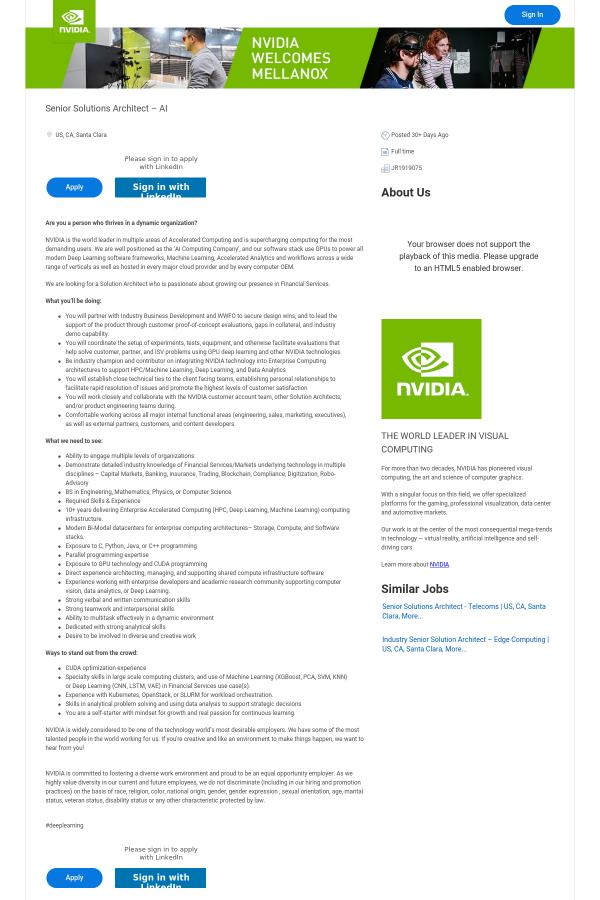 Deep Learning Solution Architect job at NVIDIA in Santa