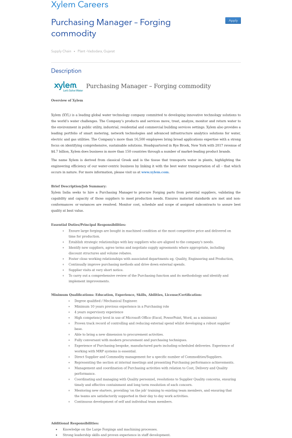Purchasing Manager - Forging Commodity job at Xylem in